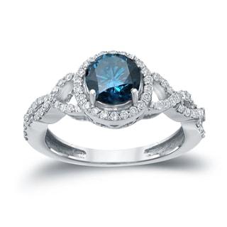 Auriya 14k Gold 1 3/8ct TDW Blue Round Diamond Halo Engagement Ring ( H-I, I1-I2)