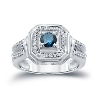 Auriya 14k Gold 2/5ct TDW Blue Round Diamond Engagement Ring ( H-I I1-I2)