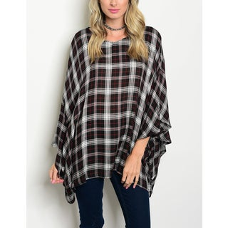JED Women's Loose Fit Batwing Sleeve Plaid Tunic Top