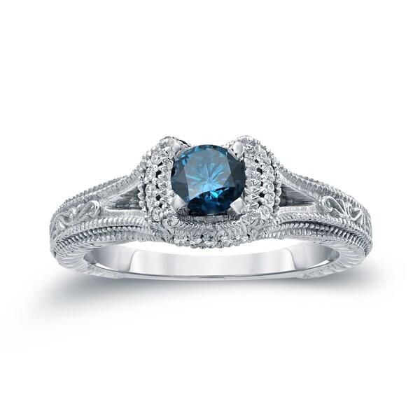 14k Gold Round 1/2ct TDW Blue Diamond Engagement Ring by Auriya