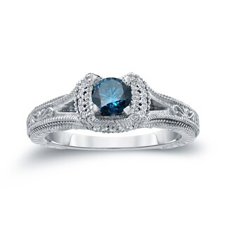 Auriya 14k Gold 1/2ct TDW Blue Round Diamond Engagement Ring ( H-I, I1-I2)