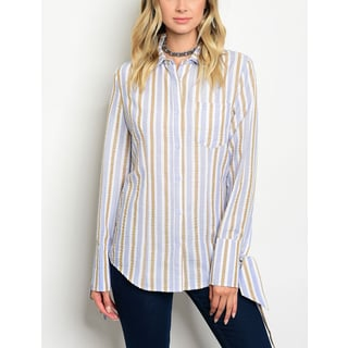 JED Women's Long Sleeve Striped Cotton Button Down Shirt