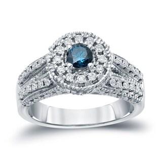 Auriya 14k Gold 3/4ct TDW Blue Round Halo Diamond Engagement Ring ( H-I, I1-I2)