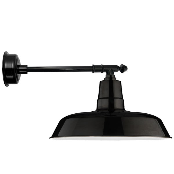 "18"" Oldage LED Barn Light with Victorian Arm in Black"