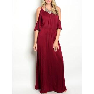 JED Women's Cold Shoulder Burgundy Elastic Waist Maxi Dress