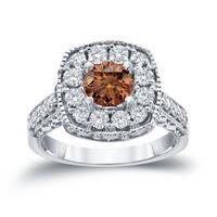 Auriya 14k Gold 1 1/2ct TDW Brown Round Diamond Halo Engagement Ring ( H-I, I1-I2)