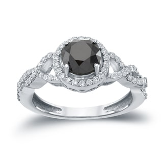 Auriya 14k Gold 1 3/8ct TDW Black Round Diamond Halo Engagement Ring ( H-I, I1-I2)