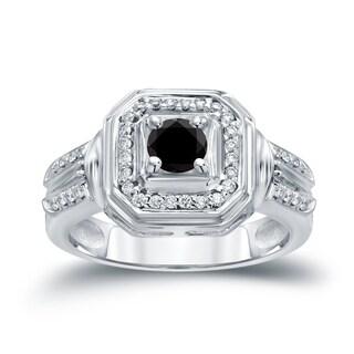Auriya 14k Gold 2/5ct TDW Black Round Diamond Engagement Ring ( H-I I1-I2)