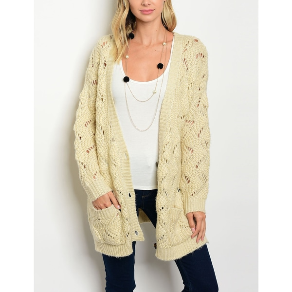 Shop JED Women s Cream Oversized Knitted Cardigan Sweater - Free ... 5e9e5525a