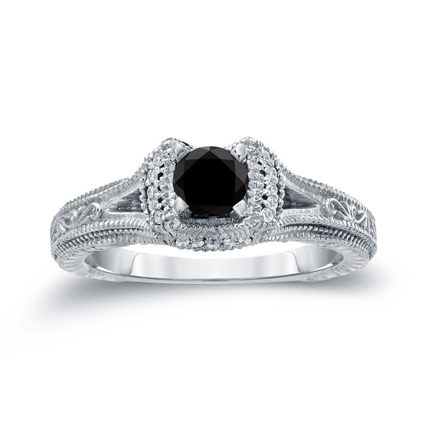 Auriya 14k Gold 1/2ct TDW Black Round Diamond Engagement Ring ( H-I, I1-I2)