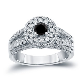 Auriya 14k Gold 3/4ct TDW Black Round Halo Diamond Engagement Ring ( H-I, I1-I2)