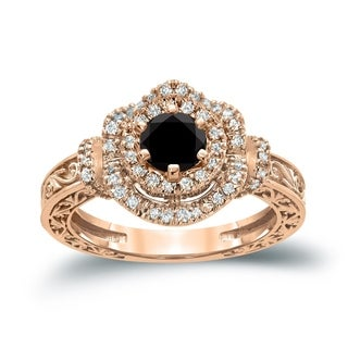 Auriya 14k Gold 1ct TDW Black Round Diamond Engagement Ring ( H-I, I1-I2)