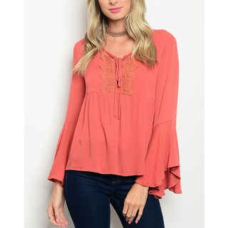 JED Women's Bell Sleeve Lace-up Top