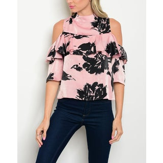 JED Women's Cold Shoulder Ruffled Mock Neck Top