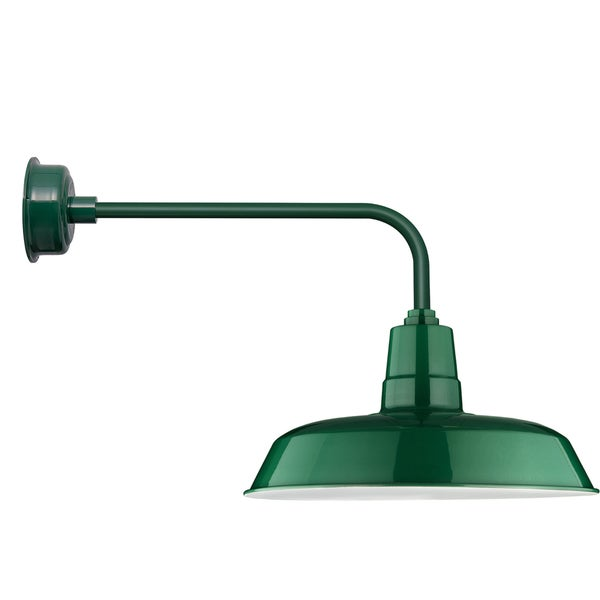 "22"" Oldage LED Barn Light with Traditional Arm in Vintage Green"