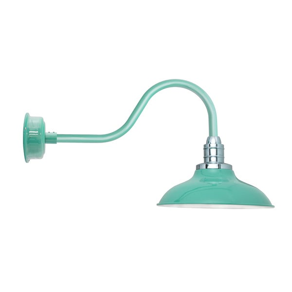 "10"" Peony LED Barn Light with Contemporary Arm in Jade - 15 X 10 X 29"
