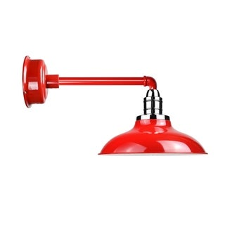 """12"""" Peony LED Barn Light with Metropolitan Arm in Cherry Red"""