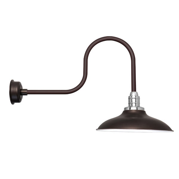 "12"" Peony LED Barn Light with Industrial Arm in Mahogany Bronze"