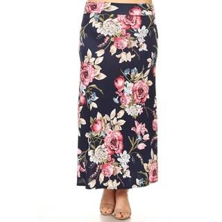 Women's Plus Size Navy Floral Maxi Skirt