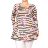 Women's Plus Size Striped Floral Pattern Tunic