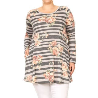 Women's Plus Size Striped Floral Pattern Tunic