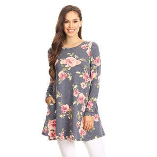 Women's Floral Pattern Long Sleeve Tunic