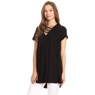 Women's Solid Top with Crossed Strap Neck Detailing
