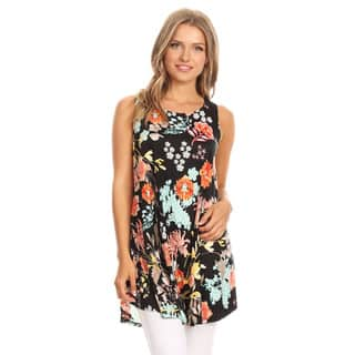 Women's Sleeveless Floral Tunic Top|https://ak1.ostkcdn.com/images/products/16605555/P22933229.jpg?impolicy=medium
