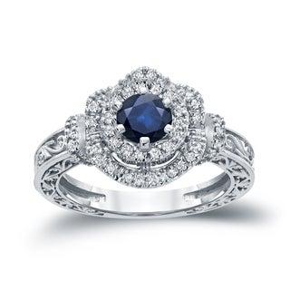 Auriya 14k Gold 3/4ct Blue Sapphire and 1/3ct TDW Round Diamond Engagement Ring (H-I, I1-I2)