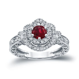 Auriya 14k Gold 3/4ct Ruby and 1/3ct TDW Round Diamond Engagement Ring (H-I, I1-I2) - Red