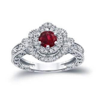 Auriya 14k Gold 3/4ct Ruby and 1/3ct TDW Round Diamond Engagement Ring (H-I, I1-I2)