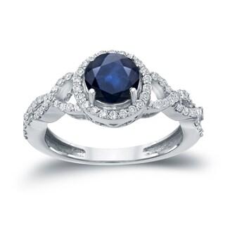Auriya 14k Gold 1ct Blue Sapphire and 2/5ct TDW Round Diamond Halo Engagement Ring (H-I, I1-I2)