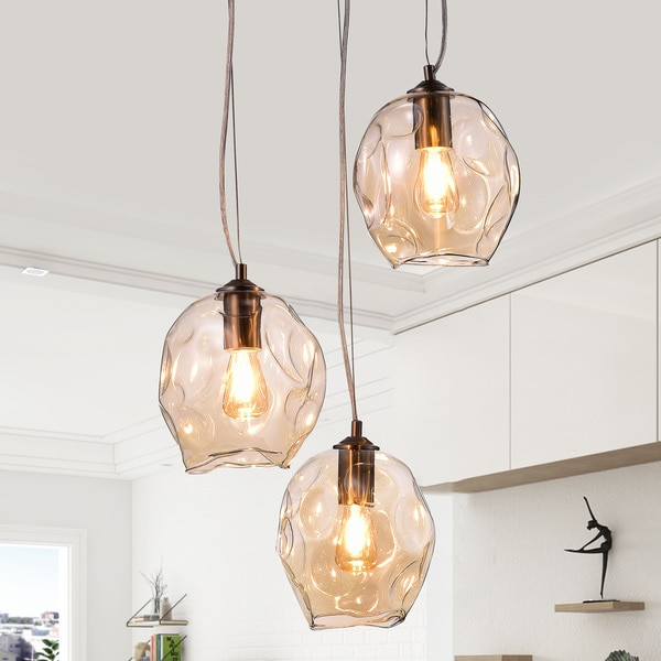 Cornelia Satin Nickel Finished Amber Glass 3 Light Cluster Pendant Chandelier