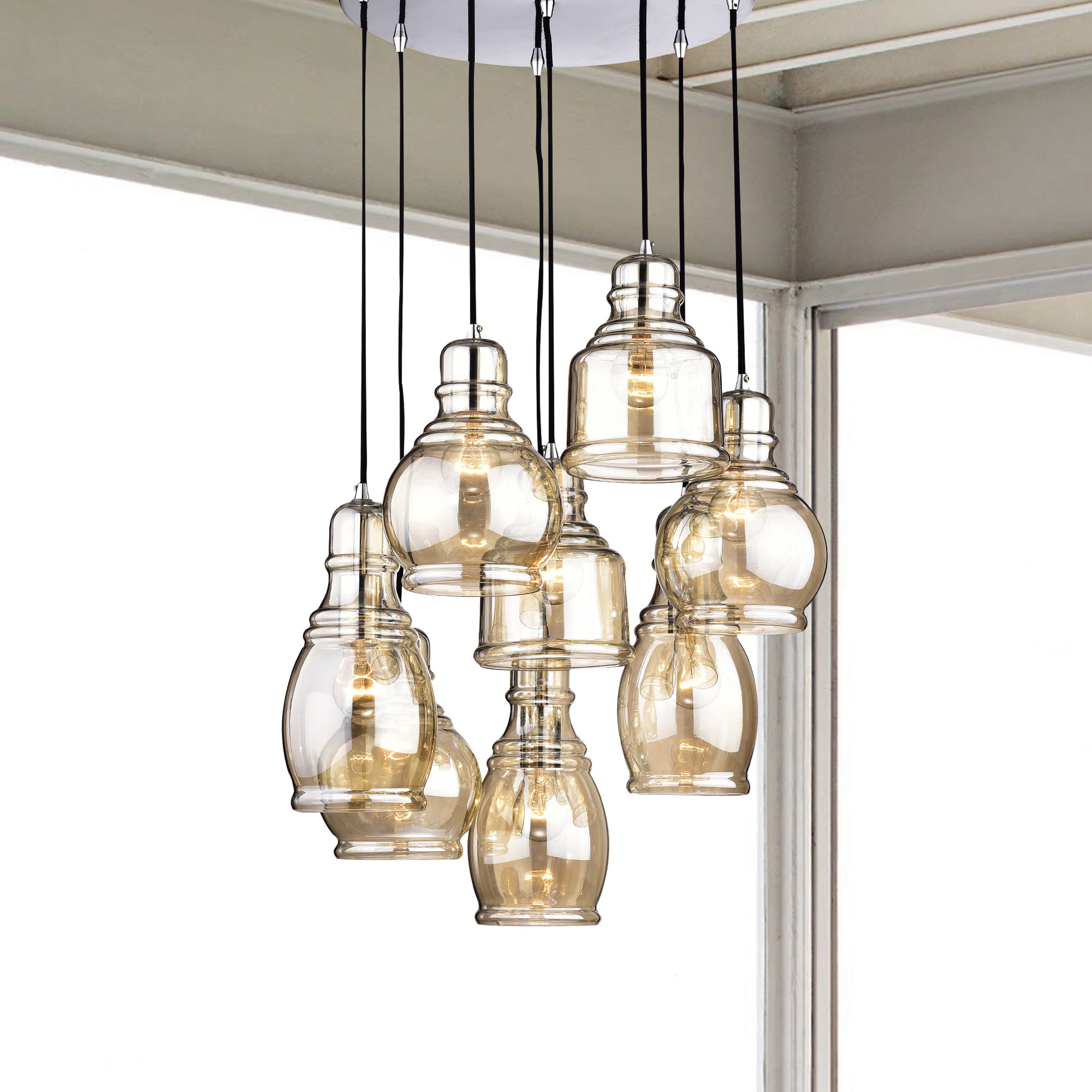 Mariana 8 Light Cognac Gl Cer Pendant Chandelier With Chrome Finish And Round Base