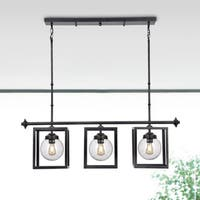 Luna Black Iron and Clear Glass Globes 3-light Chandelier