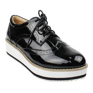 Beston DE19 Women's Platform Wingtips Wedge Heel Oxford Shoes Run One Size Small (Option: Black) https://ak1.ostkcdn.com/images/products/16617418/P22943948.jpg?impolicy=medium