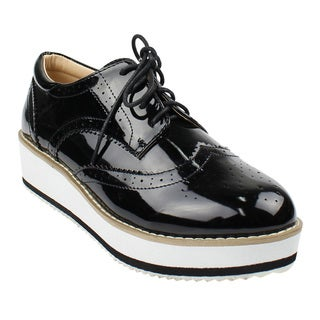 Beston DE19 Women's Platform Wingtips Wedge Heel Oxford Shoes Run One Size Small