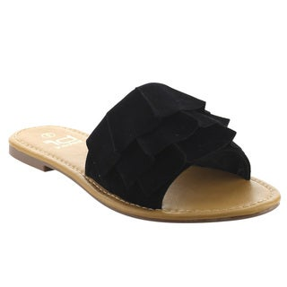 BETANI FK62 Women's 3-Layer Ruched Slide On Summer Beach Flat Sandals