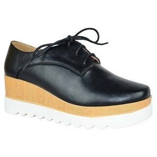 CHASE & CHLOE EH56 Women's Lace Up Platftom Wedge Heel lug Sole Oxfords