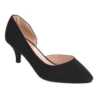 Beston DE23 Women's Kitten Heel Pull On Dress Pumps D'orsay Run One Size Small