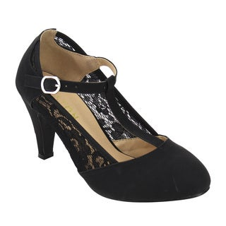 Beston DE31 Women's Floral Lace Mary Janes Dress Pumps One Size Small