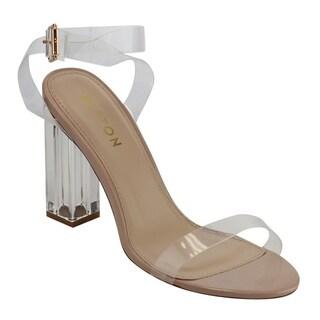 Beston DE44 Women's Strappy Lucite Block Heel Sandals One Size Big