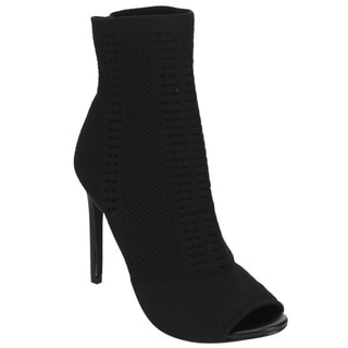Beston DE43 Women's Knitted Peep Toe Stiletto Sock Bootie Ankle Heels