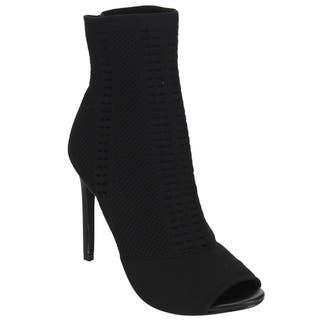 Beston DE43 Women's Knitted Peep Toe Stiletto Sock Bootie Ankle Heels|https://ak1.ostkcdn.com/images/products/16617450/P22943983.jpg?impolicy=medium