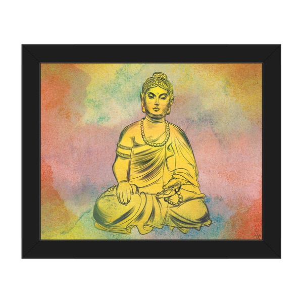 Calm Buddha Watercolor Framed Canvas Wall Art - Free Shipping Today ...