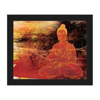 'Lotus Buddha' Brown Framed Canvas Wall Art Print