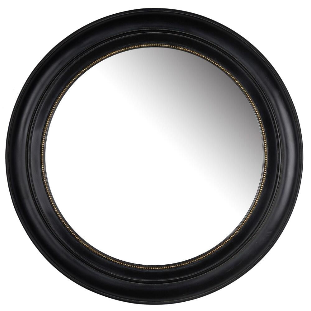Sable Black Frame 22-inch Round Mirror - A