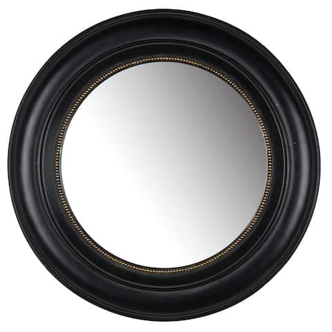 Sable 15-inch Black Resin Round Mirror - A/N