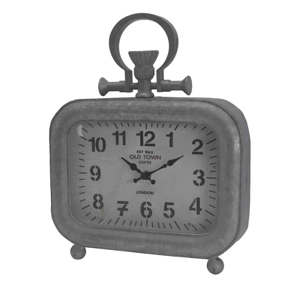 Grey Metal Table Clock