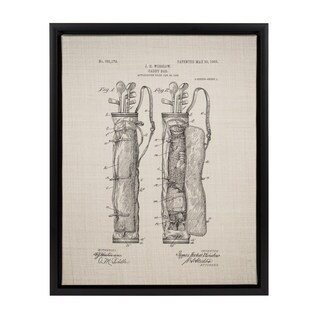Kate and Laurel 'Sylvie Golf Bag Patent' Black Framed 14-inch x 18-inch Canvas
